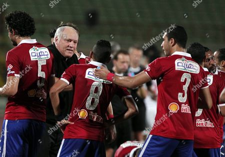 Al-ahly Coach Martin Jol Directs His Players During Their Egyptian League Soccer Soccer Match at Military Stadium in Suez Egypt 10 July 2016 Al-ahly Won the Egyptian League 2016 Egypt Suez