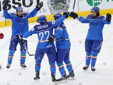 Daniel Sullivan (r) Nathan Di Casmirro (l) of Italy Celebrate a Score with Their Teammates During the Ice Hockey World Championship Match France Vs Italy at the Chizhovka Arena in Minsk Belarus 11 May 2014 Belarus Minsk