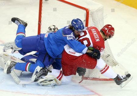 Daniel Sullivan (l) of Italy in Action Against Jannik Hansen (r) of Denmark During the Ice Hockey World Championship Between Italy and Denmark at the Chizhovka Arena in Minsk Belarus 13 May 2014 Belarus Minsk