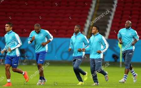 Honduran Players Jorge Claros (l-r) Wilson Palacios Juan Carlos Garcia Rony Martinez and Osman Chavez During the Training Session of the Honduran National Team in the Beira Rio Stadium in Porto Alegre Brazil 14 June 2014 a Day Before the Match Against France in the Fifa World Cup 2014 in Porto Alegre on 15 June (restrictions Apply: Editorial Use Only not Used in Association with Any Commercial Entity - Images Must not Be Used in Any Form of Alert Service Or Push Service of Any Kind Including Via Mobile Alert Services Downloads to Mobile Devices Or Mms Messaging - Images Must Appear As Still Images and Must not Emulate Match Action Video Footage - No Alteration is Made to and No Text Or Image is Superimposed Over Any Published Image Which: (a) Intentionally Obscures Or Removes a Sponsor Identification Image; Or (b) Adds Or Overlays the Commercial Identification of Any Third Party Which is not Officially Associated with the Fifa World Cup) Brazil Porto Alegre