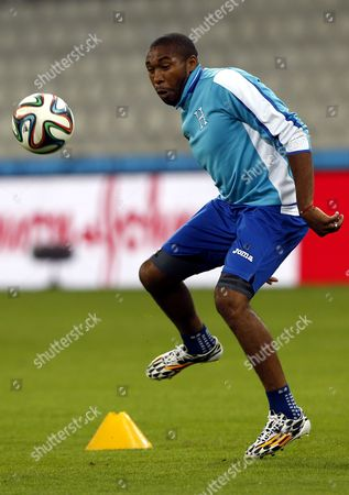 Stock Photo of Honduras Midfielder Wilson Palacios During a Training Session at the Arena Da Baixada in Curitiba Brazil 19 June 2014 Honduras Will Face Ecuador in the Fifa World Cup 2014 Group E Preliminary Round Match in Curitiba on 20 June 2014 (restrictions Apply: Editorial Use Only not Used in Association with Any Commercial Entity - Images Must not Be Used in Any Form of Alert Service Or Push Service of Any Kind Including Via Mobile Alert Services Downloads to Mobile Devices Or Mms Messaging - Images Must Appear As Still Images and Must not Emulate Match Action Video Footage - No Alteration is Made to and No Text Or Image is Superimposed Over Any Published Image Which: (a) Intentionally Obscures Or Removes a Sponsor Identification Image; Or (b) Adds Or Overlays the Commercial Identification of Any Third Party Which is not Officially Associated with the Fifa World Cup) Brazil Curitiba