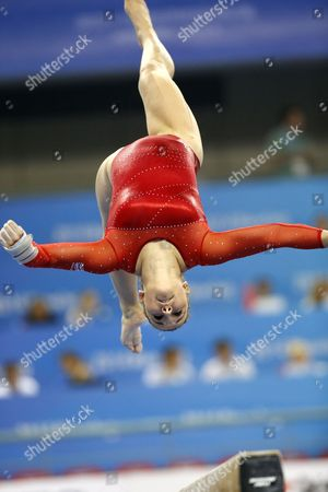 Stock Picture of Hannah Whelan of Great Britain Performs on the Balance Beam During the Women's All-around Artistic Gymnastics Qualification at the 45th Fig Artistic Gymnastics World Championships in Nanning China 06 October 2014 China Nanning