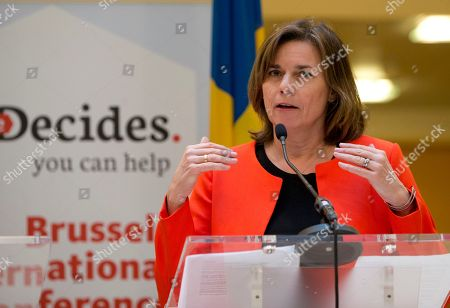 Sweden's Vice Premier Isabella Lovin speaks during a media conference, She Decides, at the Egmont Palace in Brussels on . Nations are pledging tens of millions of dollars at an international family planning conference in Brussels aimed at making up for the gap left by President Donald Trump's ban on U.S. funding to groups linked to abortion