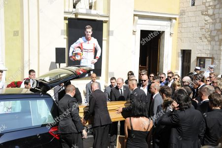 Pallbearers Carry the Coffin of French Formula One Driver Jules Bianchi During His Funeral Held at the Cathedral of Sainte Reparate in Nice France 21 July 2015 Bianchi Has Died on 17 July 2015 He was 25 Bianchi was Hospitalized After He Suffered Severe Head Injuries when His Car Crashed Into a Crane Which was There to Lift the Crashed Car of Adrian Sutil Off the Track at the Japanese Grand Prix on 05 October 2014 France Nice