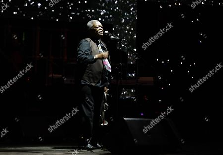 South African Jazz Musician Hugh Masekela Performs on Stage During the Safaricom International Jazz Festival in Nairobi Kenya 12 August 2016 the Festival is Organized by Safaricom Which is a Leading Mobile Network Operator Company in Kenya Kenya Nairobi
