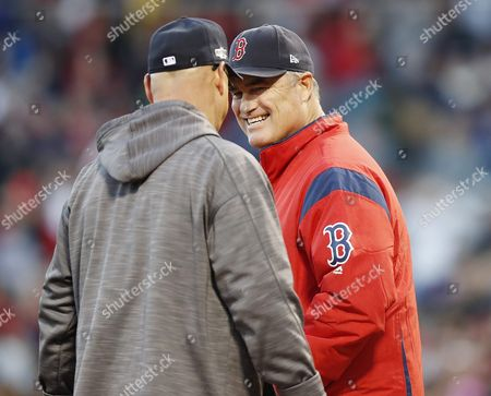 Boston Red Sox Manager John Farrell (r) and Cleveland Indians Manager Terry Francona (l) Meet at Home Plate Before the Start of Their Mlb American League Division Series Game at Fenway Park in Boston Usa 10 October 2016 the Winner of the Best-of-five Series Will Go on to Face Either the Toronto Blue Jays in the American League Championship Series United States Boston