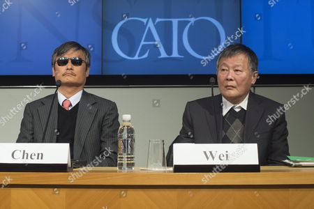 Stock Picture of Chinese Activists Chen Guangcheng (l) Visiting Fellow at Catholic University and Wei Jingsheng (r) Chairman of the Wei Jingsheng Foundation Participate in a Discussion Entitled 'The Deteriorating State of Human Rights in China' at the Cato Institute in Washington Dc Usa 23 November 2015 According to the Cato Institute the Discussion Focused on what Activists Are Calling the Deterioration of Human Rights Under the Rule of Current Chinese President Xi Jinping United States Washington