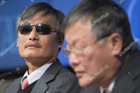 Chinese Activist Chen Guangcheng (l) Visiting Fellow at Catholic University Listens to Remarks From Fellow Chinese Activist Wei Jingsheng (r) Chairman of the Wei Jingsheng Foundation During a Discussion Entitled 'The Deteriorating State of Human Rights in China' at the Cato Institute in Washington Dc Usa 23 November 2015 According to the Cato Institute the Discussion Focused on what Activists Are Calling the Deterioration of Human Rights Under the Rule of Current Chinese President Xi Jinping United States Washington