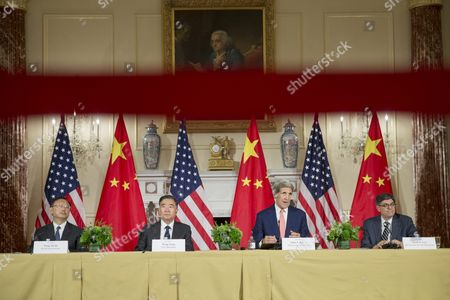 (l to R); State Councilor of China Yang Jiechi Vice Premier of China Wang Yang Us Secretary of State John Kerry and Us Treasury Secretary Jack Lew Are Seen Behind a Stanchion While Attending Closing Remarks of the 2015 Us - China Strategic and Economic Dialogue (s and Ed) at the State Department in Washington Dc Usa 24 June 2015 the Annual Event is a Bilateral Forum where China and the Us Discuss a Broad Range of Issues Especially in the Area of Trade and the Global Economy United States Washington