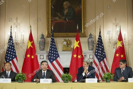(l to R); State Councilor of China Yang Jiechi Vice Premier of China Wang Yang Us Secretary of State John Kerry and Us Treasury Secretary Jack Lew Attend Closing Remarks of the 2015 Us - China Strategic and Economic Dialogue (s and Ed) at the State Department in Washington Dc Usa 24 June 2015 the Annual Event is a Bilateral Forum where China and the Us Discuss a Broad Range of Issues Especially in the Area of Trade and the Global Economy United States Washington