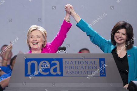 Democratic Presidential Candidate Hillary Clinton (l) Stands with Nea President Lily Eskelsen Garcia (r) After Addressing the National Education Association's 95th Representative Assembly in Washington Dc Usa 05 July 2016 Nea is the Largest Labor Union in the United States United States Washington