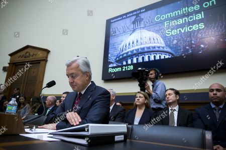 Stock Image of Chairman and Ceo of the Wells Fargo & Company John Stumpf (c) Testifies Before the House Financial Services Committee Hearing on 'Holding Wall Street Accountable: Investigating Wells Fargo's Opening of Unauthorized Customer Accounts ' Capitol Hill in Washington Dc Usa 29 September 2016 the State Treasurer of California is Suspending Large Parts of the State's Business with Wells Fargo Due to the Scandal Involving Unauthorized Customer Accounts United States Washington