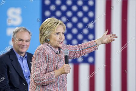 Us Democratic Presidential Candidate Hillary Clinton (front) Campaigns with Democratic Senator From Virginia Tim Kaine (back) at Ernst Community Cultural Center at the Northern Virginia Community College's Annandale Campus in Annandale Virginia Usa 14 July 2016 United States Annandale
