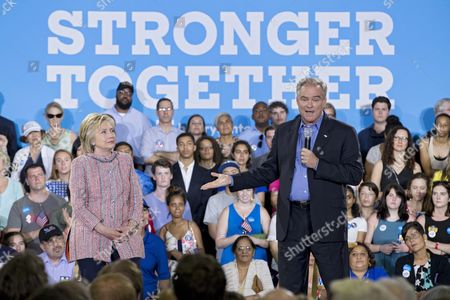 Stock Photo of Democratic Senator From Virginia Tim Kaine (r) Introduces Us Democratic Presidential Candidate Hillary Clinton (l) at a Campaign Event at Ernst Community Cultural Center at the Northern Virginia Community College's Annandale Campus in Annandale Virginia Usa 14 July 2016 United States Annandale