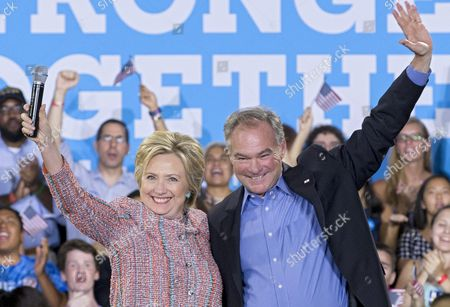 Us Democratic Presidential Candidate Hillary Clinton (l) Campaigns with Democratic Senator From Virginia Tim Kaine (r) at Ernst Community Cultural Center at the Northern Virginia Community College's Annandale Campus in Annandale Virginia Usa 14 July 2016 United States Annandale