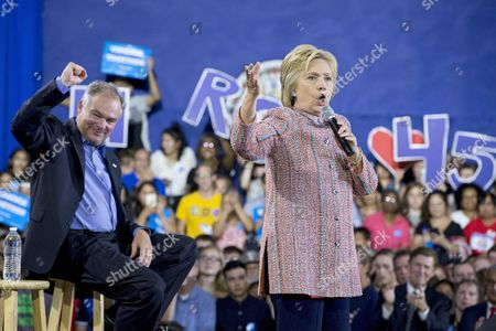 Stock Picture of Us Democratic Presidential Candidate Hillary Clinton (r) Campaigns with Democratic Senator From Virginia Tim Kaine (l) at Ernst Community Cultural Center at the Northern Virginia Community College's Annandale Campus in Annandale Virginia Usa 14 July 2016 United States Annandale