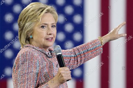 Us Democratic Presidential Candidate Hillary Clinton Campaigns at Ernst Community Cultural Center at the Northern Virginia Community College's Annandale Campus in Annandale Virginia Usa 14 July 2016 United States Annandale