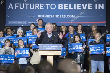 Democratic Presidential Candidate Bernie Sanders (c) Speaks During a Rally at Daniel Webster Community College in Nashua New Hampshire Usa 08 February 2016 the New Hampshire Primary Will Be Held on 09 February 2016 United States Nashua