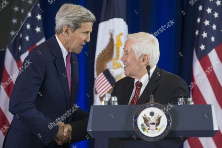 Us Secretary of State John Kerry (l) is Introduced by Former Republican Senator From Indiana Richard Lugar (r) to Deliver a Speech on the Nuclear Agreement with Iran at the National Constitution Center in Philadelphia Pennsylvania Usa 02 September 2015 Kerry Defended the Nuclear Deal with Iran That Has Drawn Strong Criticism From Some Republican Members of Congress United States Philadelphia