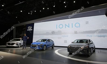 Explorer and Environmentalist David De Rothschild (c) Unveils the Hyundai Ioniq Hybrid During the New York International Auto Show at the Jacob K Javits Center in New York City New York Usa 23 March 2016 the Show is Open to the Public 25 March and Runs Through 03 April 2016 United States New York