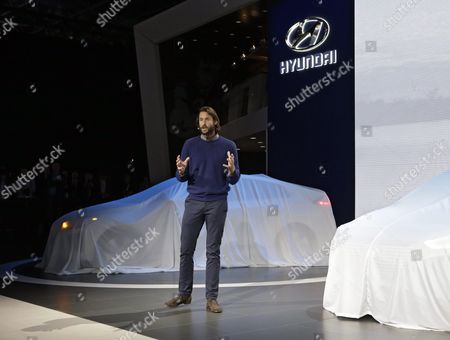 Explorer and Environmentalist David De Rothschild (c) Speaks During the Presentation of the Hyundai Ioniq Hybrid During the New York International Auto Show at the Jacob K Javits Center in New York City New York Usa 23 March 2016 the Show is Open to the Public 25 March and Runs Through 03 April 2016 United States New York