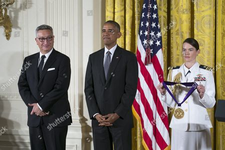 Us President Barack Obama Awards Director and Playwright Moises Kaufman (l) with the 2015 National Medal of Arts During a Ceremony in the East Room of the White House in Washington Dc Usa 22 September 2016 Kaufman's Award-winning Tectonic Theater Project Continues to Move Audiences with Its Bold Portrayals of Contemporary Social Issues United States Washington