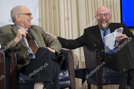 Emeritus Professor of Physics at Massachusetts Institute of Technology (mit) Rainer Weiss (l) and Professor of Theoretical Physics at Caltech Kip Thorne (r) Share a Laugh As They Listen to Remarks on the Discovery of Gravitational Waves During a Press Conference in Washington Dc Usa 11 February 2016 Us Researchers Say They Have Detected Gravitational Waves Which Physicist Albert Einstein First Described 100 Years Ago As 'Ripples in the Fabric of Space-time ' Scientists From Caltech and the Massachusetts Institute of Technology (mit) Made the Announcement in Washington and Other Locations Around the World There Were Immediate Suggestions That the Discovery Could Well Win Them the Nobel Prize in Physics the Signal Detected with the Laser Interferometer Gravitational-wave Observatory (ligo) an Observatory with Sites on Both Sides of the United States was Very Clear and There was No Room For Doubt That It was Direct Evidence of the Waves Said Bruce Allen Acting Director at Germany's Max Planck Institute For Gravitational Physics the Announcement May Confirm Albert Einstein's Last Unproven Theory Dating From 1916 According to Einstein's Theory Gravitational Waves Move at the Speed of Light in a Vacuum and Bend Space Each Accelerated Body Therefore Sends Gravitational Waves Which Increase in Strength the Greater the Mass and the Faster It Moves United States Washington