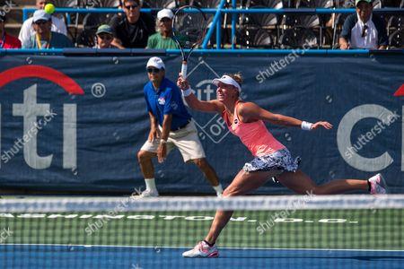 Yanina Wickmayer of Belgium in Action Against Yulia Putintseva of Kazakhstan During Their Semifinals Match of the Citi Open Tennis Tournament at Rock Creek Park Tennis Center in Washington Dc Usa 23 July 2016 United States Washington