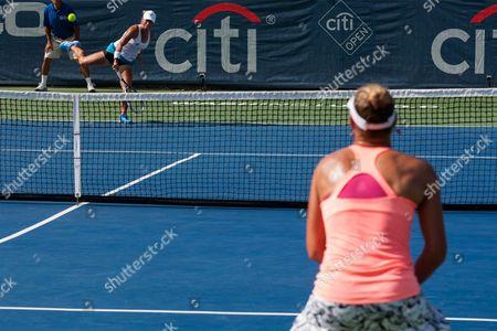 Yulia Putintseva ((l) of Kazakhstan Serves Against Yanina Wickmayer of Belgium During Their Semifinals Match of the Citi Open Tennis Tournament at Rock Creek Park Tennis Center in Washington Dc Usa 23 July 2016 United States Washington