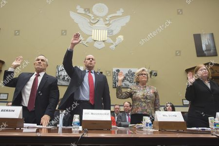 Witnesses Are Sworn-in to Testify Before the Us House Oversight and Government Reform Committee Hearing 'Terrorist Travel - Vetting For National Security Concerns' on Capitol Hill in Washington Dc Usa 17 December 2015 in This Picture (l to R); Assistant Homeland Security Secretary For International Affairs Alan Bersin Director of Us Citizenship and Immigration Services Leon Rodriguez Assistant Secretary of State For Consular Affairs Michele Thoren Bond and Assistant Secretary of State For Population Refugees and Migration Anne Richard United States Washington