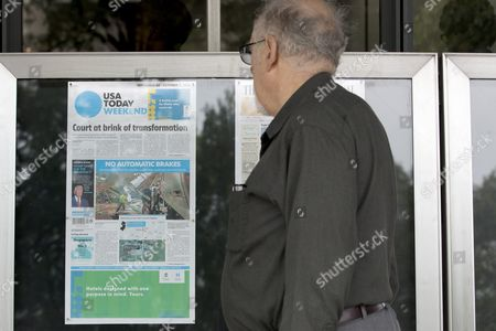Peter Strauss of New York City Looks at the Front Page of the Weekend Edition of the Usa Today Which States That Republican Presidential Candidate Donald Trump is 'Unfit For the Presidency' According to the Newspaper's Editorial Board; on Display Outside the Newseum in Washington Dc Usa 30 September 2016 the Newspaper Has Made News by Declaring Trump 'Unfit For the Presidency' - the First Time the Publication's Editorial Board Has Publicly Taken a Side in a Us Presidential Race United States Washington