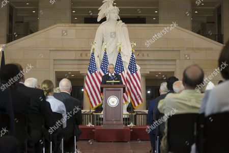 Former Secretary of Defense and Vietnam War Veteran Chuck Hagel (c) Delivers Remarks During a Ceremony Held to Commemorate the 50th Anniversary of the Vietnam War on Capitol Hill in Washington Dc Usa 08 July 2015 United States Washington