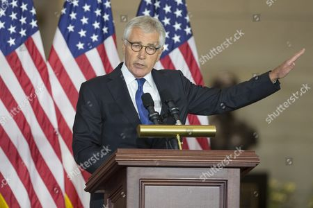 Former Secretary of Defense and Vietnam War Veteran Chuck Hagel Delivers Remarks During a Ceremony Held to Commemorate the 50th Anniversary of the Vietnam War on Capitol Hill in Washington Dc Usa 08 July 2015 United States Washington