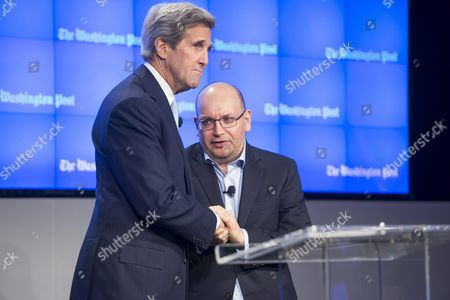 Freed Washington Post Journalist Jason Rezaian (r) Shakes Hands with Us Secretary of State John Kerry (l) at an Event Celebrating the New Location of the Washington Post in Washington Dc Usa 28 January 2016 Rezaian who was Freed This Month After 545 Days in an Iranian Prison Thanked His Colleagues For Keeping His Story Alive and Us Diplomats For Seeking His Release Rezaian Thanked His Colleagues For the 'Lengths You Went to Keep My Story Alive' and Us Secretary of State John Kerry and Diplomat Brett Mcgurk who Negotiated His Release United States Washington