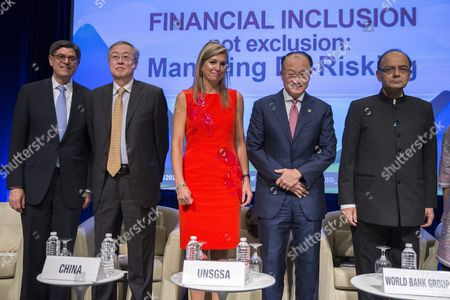 Un Secretary General's Special Advocate For Inclusive Finance For Development Queen Maxima of the Netherlands (c) Us Secretary of Treasury Jacob Lew (l) Governor of the People's Bank of China Zhou Xiaochuan (2l) World Bank President Jim Yong Kim (2r) and Indian Union Minister of Finance and Corporate Affairs Arun Jaitley (r) Arrive on Stage For a Discussion on Financial Inclusion not Exclusion: Managing De-risking at World Bank Group Headquarters in Washington Dc Usa 07 October 2016 the 2016 Annual Meetings of the International Monetary Fund and World Bank Group Take Place 7-9 October United States Washington