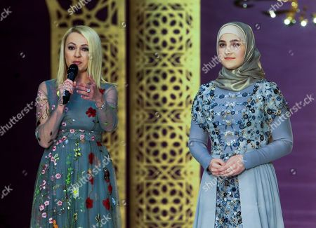 Yana Rudkovskaya, Aishat Kadyrov Producer Yana Rudkovskaya, left, and fashion designer Aishat Kadyrov, daughter of Chechen regional leader Ramzan Kadyrov, attend a presentation of fashion collection by Aishat Kadyrov in Chechnya's provincial capital Grozny, Russia. The show was organized by Fashion house Firdaws (Gardens of Paradise) directed by Aishat Kadyrov since 2016 and founded by her mother Medni Kadyrova, wife of Ramzan Kadyrov, in Grozny in 2009