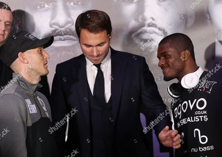 Ohara Davies head to head with Derry Mathews   at    David Haye  and  Tony Bellew    Final Press Conference at The O2, Peninsula Square, London on 2nd  March 2017