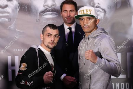 Undercard Boxers Lee Selby (right) head to head with Andoni Gago   David Haye  and  Tony Bellew    Final Press Conference at The O2, Peninsula Square, London on 2nd  March 2017