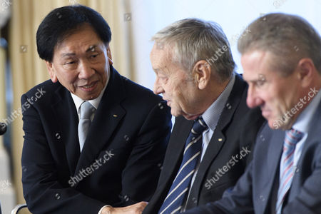 International Olympic Committee (ioc) Member Wu Ching-kuo (l) of Taiwan Speaks with Ioc Member Gian-franco Kasper (c) From Switzerland and Ioc Member Sergei Bubka (r) of Ukraine at the Opening of the First Day of the Executive Board Meeting of the International Olympic Committee (ioc) in Lausanne Switzerland 06 December 2016 Switzerland Schweiz Suisse Lausanne