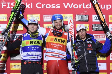 The Podium with Brady Leman of Canada Romain Detraz of Switzerland and Jean Frederic Chapuis of France From Left After the Finals of the Ski Cross World Cup in Arosa Switzerland December 13 2016 Switzerland Schweiz Suisse Arosa