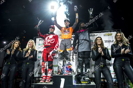 Stock Image of (l-r) Us Rider Justin Brayton (l) Victorious French Driver Marvin Musquin and Us Rider Malcolm Stewart Stand on the Podium For the Sx1 Category Final Winners During the 31th Geneva International Supercross at the Palexpo in Geneva Switzerland 02 December 2016 Switzerland Schweiz Suisse Geneva