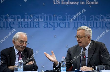 Giuliano Amato (l) Judge of Italian Constitutional Court with the Chairman of Aspen Institute Italy Giulio Tremonti During the International Workshop 'Post-election America: Political and Economic Challenges' at Center For American Studies in Rome Italy 02 December 2016 Italy Rome