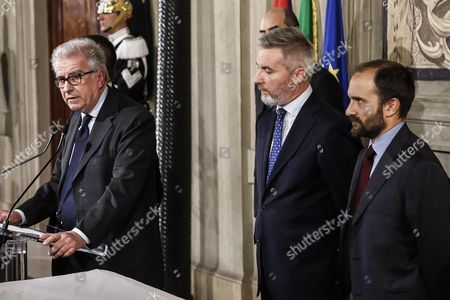 Left to Right: Luigi Zanda Lorenzo Guerini and Matteo Orfini For Democratic Party After a Meeting with Italian President Sergio Mattarella at the Quirinal Palace in Rome Italy 10 December 2016 Italian President Mattarella is Holding Talks with Political Parties Leaders About the Best Way out of the Crisis Sparked by the Government's Stunning Defeat in a Constitutional Reform Referendum on 04 December Italy Rome