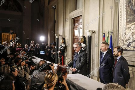 (l-r) Luigi Zanda Lorenzo Guerini and Matteo Orfini For Democratic Party Attend a Press Conference After a Meeting with Italian President Sergio Mattarella at the Quirinal Palace in Rome Italy 10 December 2016 President Mattarella is Holding Talks with Political Parties Leaders About the Best Way out of the Crisis Sparked by the Government's Stunning Defeat in a Constitutional Reform Referendum on 04 December Italy Rome
