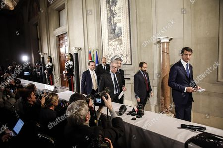 (l-r) Luigi Zanda Lorenzo Guerini and Matteo Orfini For Democratic Party After a Meeting with Italian President Sergio Mattarella at the Quirinal Palace in Rome Italy 10 December 2016 Italian President Mattarella is Holding Talks with Political Parties Leaders About the Best Way out of the Crisis Sparked by the Government's Stunning Defeat in a Constitutional Reform Referendum on 04 December Italy Rome