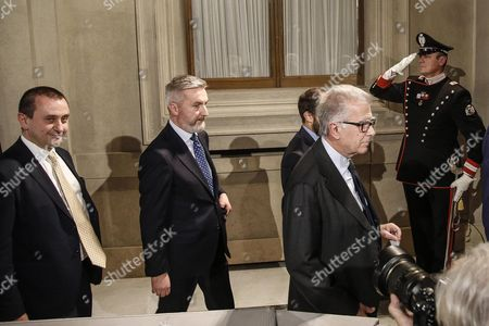 Lorenzo Guerini (c-l) and Luigi Zanda (c-r) For Democratic Party After a Meeting with Italian President Sergio Mattarella at the Quirinal Palace in Rome Italy 10 December 2016 Italian President Mattarella is Holding Talks with Political Parties Leaders About the Best Way out of the Crisis Sparked by the Government's Stunning Defeat in a Constitutional Reform Referendum on 04 December Italy Rome