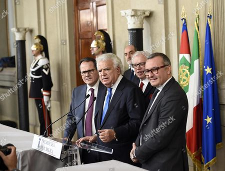 Stock Image of Ala-scelta Civica Per La Costituente Liberale E Popolare's Party Deputies (l-r) Francesco Saverio Romano Denis Verdini Lucio Barani and Enrico Zanetti After a Meeting with Italian President Sergio Mattarella (not Seen) at the Quirinal Palace in Rome Italy 10 December 2016 President Mattarella is Holding Talks with Political Parties Leaders About the Best Way out of the Crisis Sparked by the Government's Stunning Defeat in a Constitutional Reform Referendum on 04 December Italy Rome