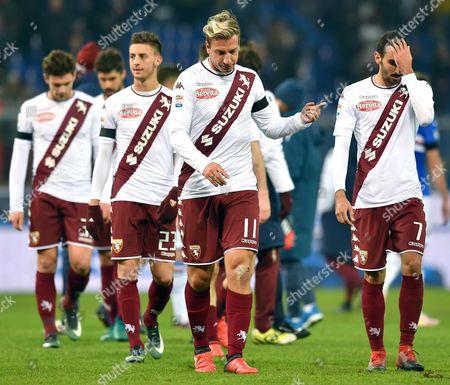 Torino's Argentinian Forward Maximiliano Gaston Maxi Lopez (c) Reacts After the Italian Serie a Soccer Match Uc Sampdoria Vs Torino Fc at Luigi Ferraris Stadium in Genoa Italy 4 December 2016 Italy Genova