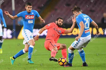 Empoli's Midfielder Riccardo Saponara (c) in Action During Italian Serie a Soccer Match Between Ssc Napoli and Fc Empoli at San Paolo Stadium in Naples Italy 26 October 2016 Italy Naples