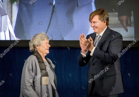 Stock Image of British Writer a S Byatt (l) Receives the 'Erasmusprijs 2016' (erasmus Prize) From Dutch King Willem-alexander at the Royal Palace in Amsterdam the Netherlands 08 December 2016 the Jury Calls Byatt a Born Storyteller with a Keen Eye For Social Relations Netherlands Amsterdam